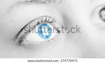 Macro image of blue human eyes - stock photo