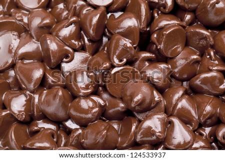 Macro image of chocolate chips background - stock photo