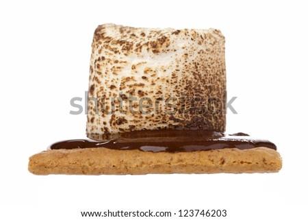 Macro image of graham cracker with chocolate and marshmallow. - stock photo