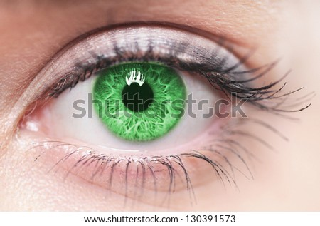 Macro image of green human eye - stock photo