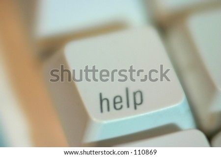 Macro image of Keyboard HELP button - stock photo