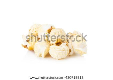 macro image of Popcorn, Popcorn isolated on white background, - stock photo
