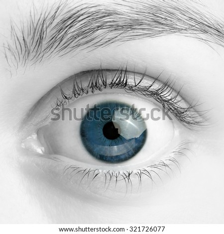 Macro image of wide open blue eye, black and white photo - stock photo