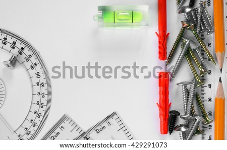 macro line and screws on white paper, layout - stock photo