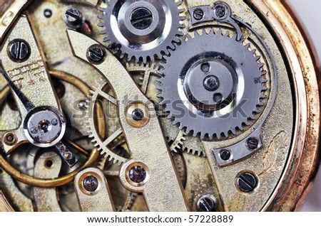 macro mechanical gear - stock photo