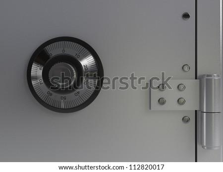 Macro Metal Safe - High quality Render - stock photo