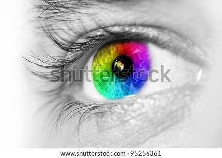 Macro of a blue eye. Side view, selective focus. - stock photo