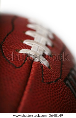 Macro of a new football with a shallow depth of field - stock photo
