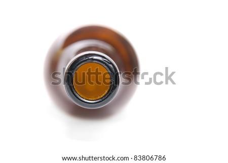 Macro of beer bottle neck - stock photo