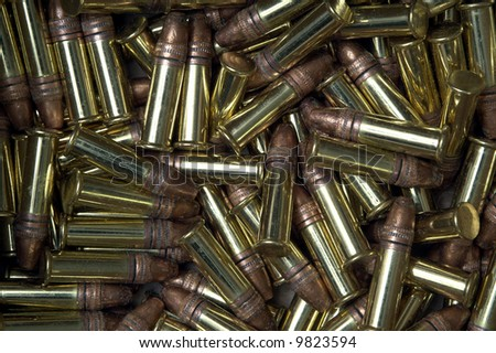 Macro of 22 caliber rimfire bullets - stock photo