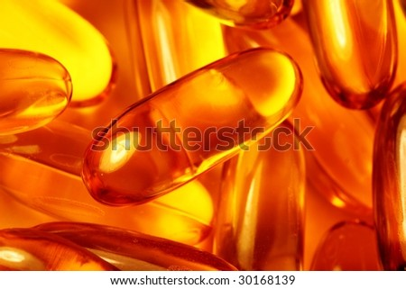 macro of capsules horizontal - stock photo