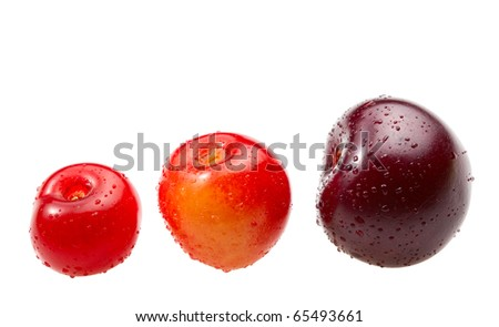 Macro of cherries isolated over white background - stock photo