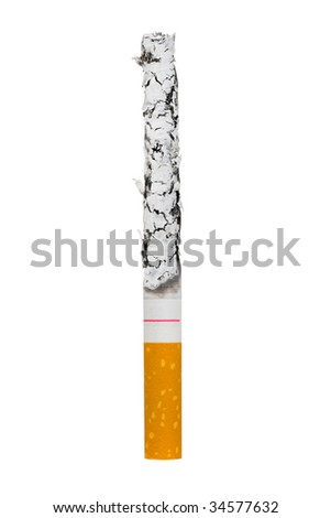 Macro of cigarette isolated on white background - stock photo