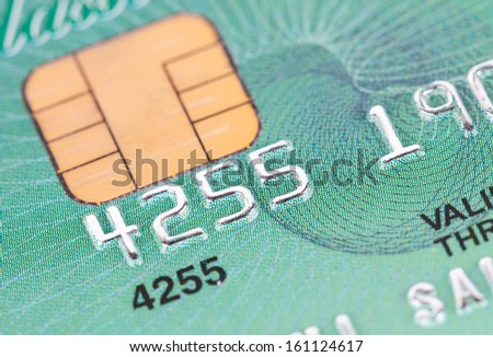 Macro of credit card in blue style - stock photo