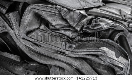Macro of crushed silver metal for recycling - stock photo