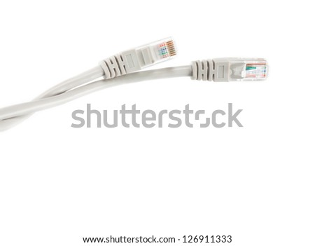 Macro of internet cable isolated on white background. - stock photo