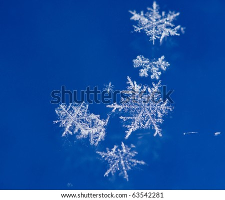 Macro of natural brilliant snow flakes - stock photo