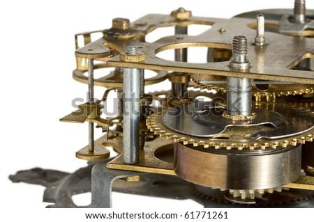 Macro of obsolete clockwork isolated on white background - stock photo