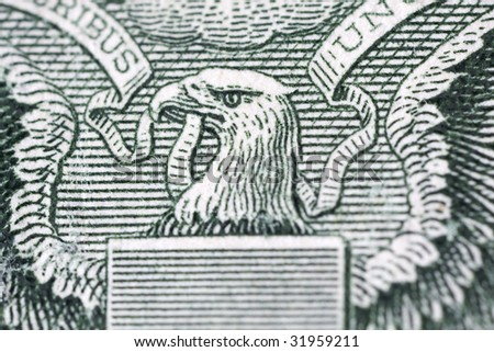 Macro of one dollar bill back - stock photo