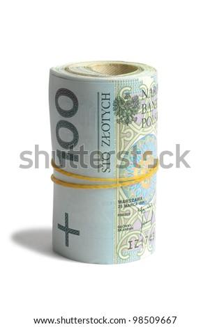 Macro of Polish bank notes on white background - stock photo