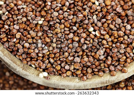 Macro of Quinoa seeds in a wooden spoon. - stock photo