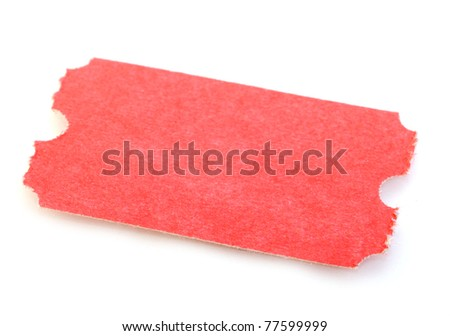 Macro of Red Ticket isolated on white background - stock photo