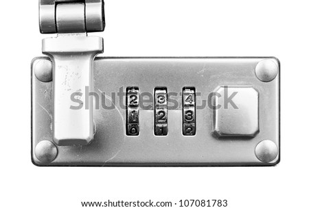 Macro of  suitcase or travel bag combination lock isolated over white - dials set to 123,  Shallow Focus - stock photo