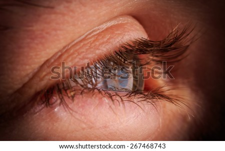 Macro of the eye of a young man - Shallow depth of field - stock photo