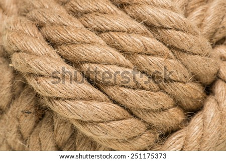 macro of tied up ham rope knot - stock photo