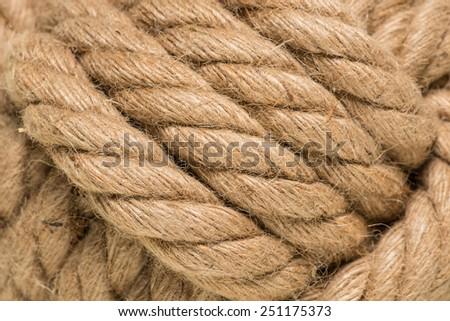 macro of tied up ham rope knot - stock photo