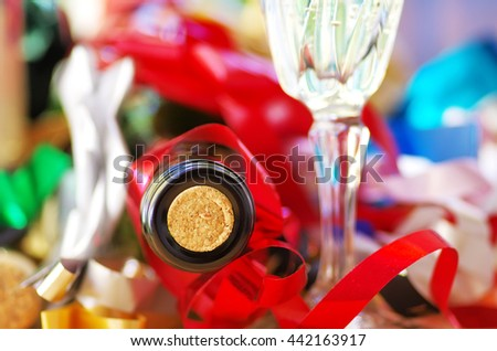 Macro of wine bottle with cork on colorfoul background  - stock photo