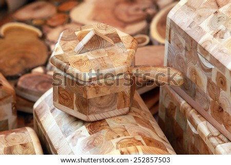 macro of wood caskets in the art of the mosaic pieces of wood - stock photo