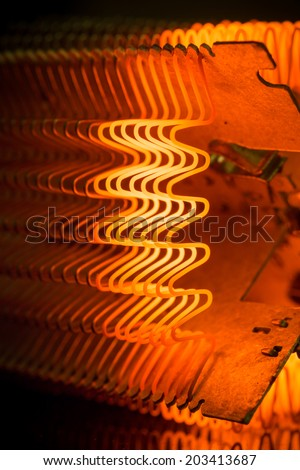Macro of working heating element - stock photo