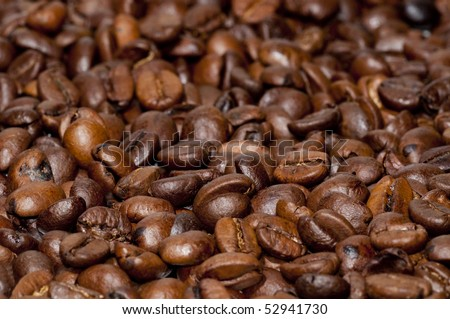 macro on coffee beans roasted - stock photo