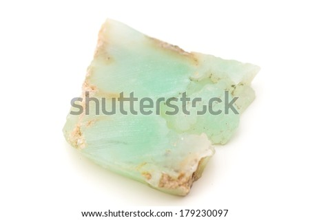 macro photo of chrysoprase isolated over white - stock photo