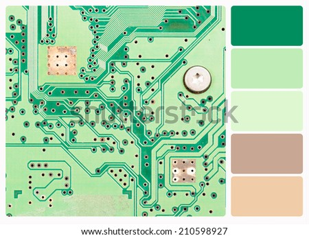 macro photo of electronic circuit , colour palette swatches. - stock photo