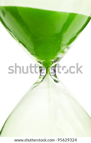 macro photo of hourglass isolated on a white background - stock photo