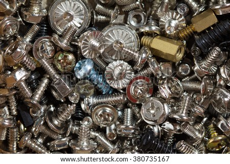 macro photo of screws heap - stock photo