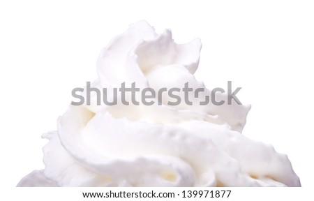 macro photo of Whipped cream isolated background - stock photo