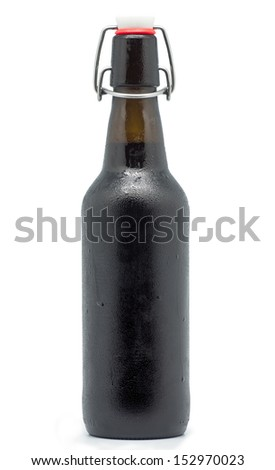 macro photography of a black beer on white background - stock photo