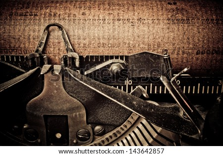 macro picture of old typewriters, retouching retro - stock photo