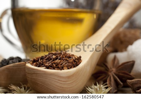 Macro picture with cup tea spoon. - stock photo