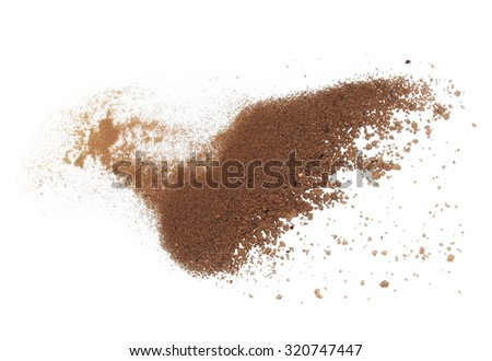 macro pile dirt isolated on white background, with clipping path - stock photo
