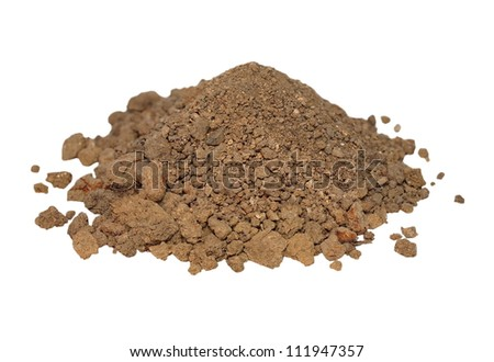 macro pile dry dirt isolated on white background - stock photo