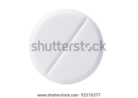 Macro shoot of single white pill isolated on white background. Close-up. - stock photo