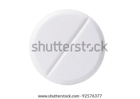 Macro shoot of single white pill isolated on white background. Close-up. - stock photo