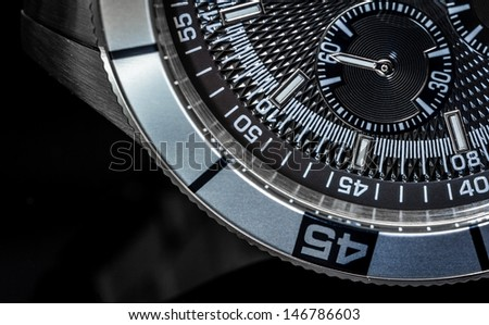 Macro shot of a chronometer. Selective focus, shallow depth of field. - stock photo