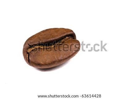 macro shot of a coffee bean, isolated on white - stock photo