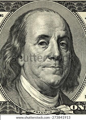 Macro shot of a 100 dollar - stock photo
