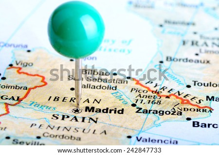 Macro shot of a European map showing Madrid Spain - stock photo